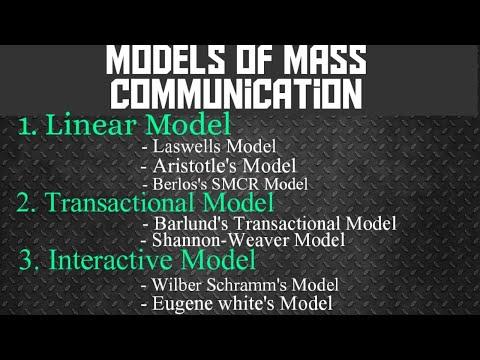 Model of mass communication   Linear model  Transactional model   Interactive model,etc Hifi Shiksha