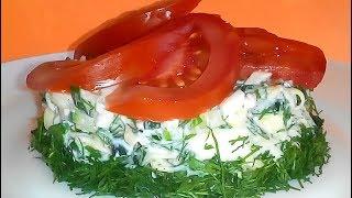 САЛАТ ИЗ ОГУРЦОВ С СЫРОМ  Простой быстрый и легкий салат