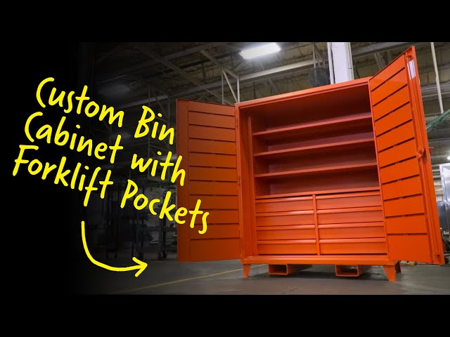 Custom Bin Cabinet with Forklift Pockets | Strong Hold