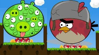 Angry Birds Cannon 3 - HIT AND FORCE THE BAD PIGGIES 100 EYES WITH 100 TERENCE!