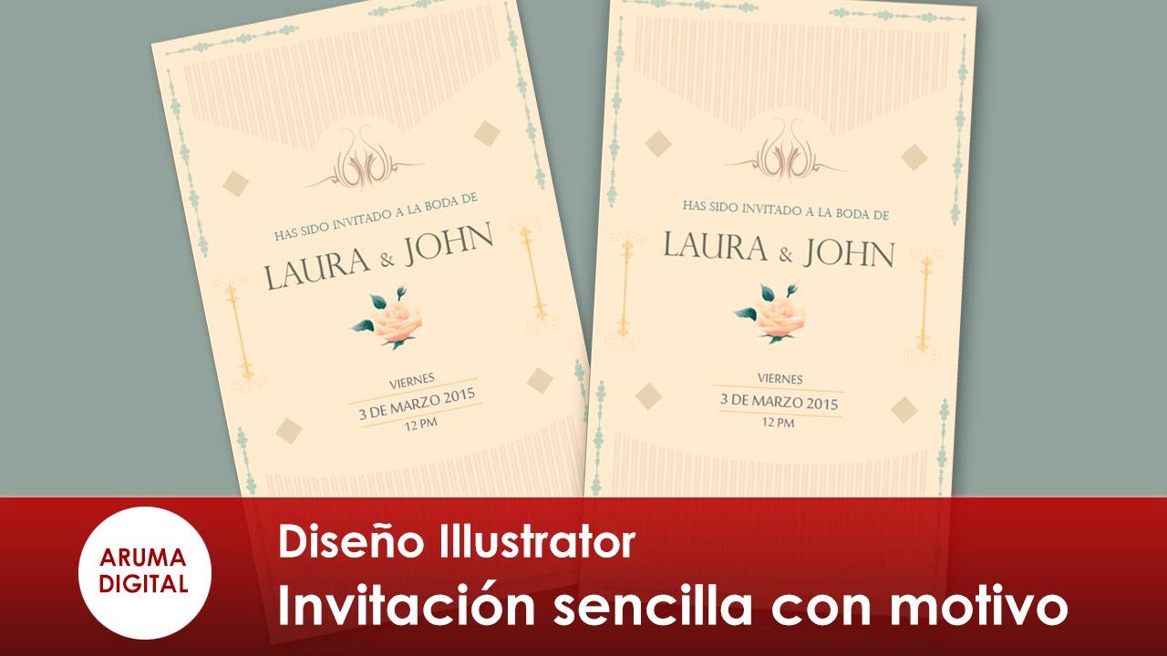 Illustrator 203 Invitacion sencilla con borde y textura - YouTube