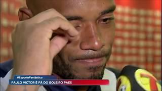 Goleiro do São Caetano ganha suporte de seu fã número 1
