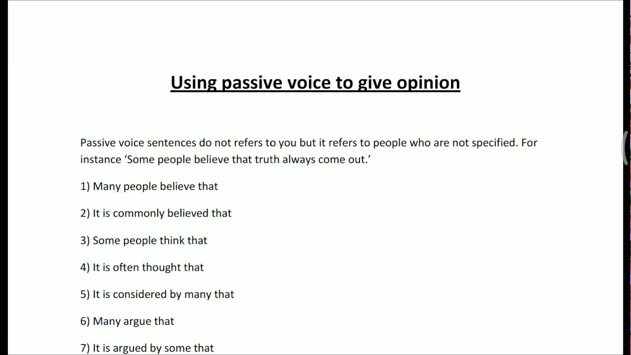 IELTS Writing task 2 Use of passive voice sentence