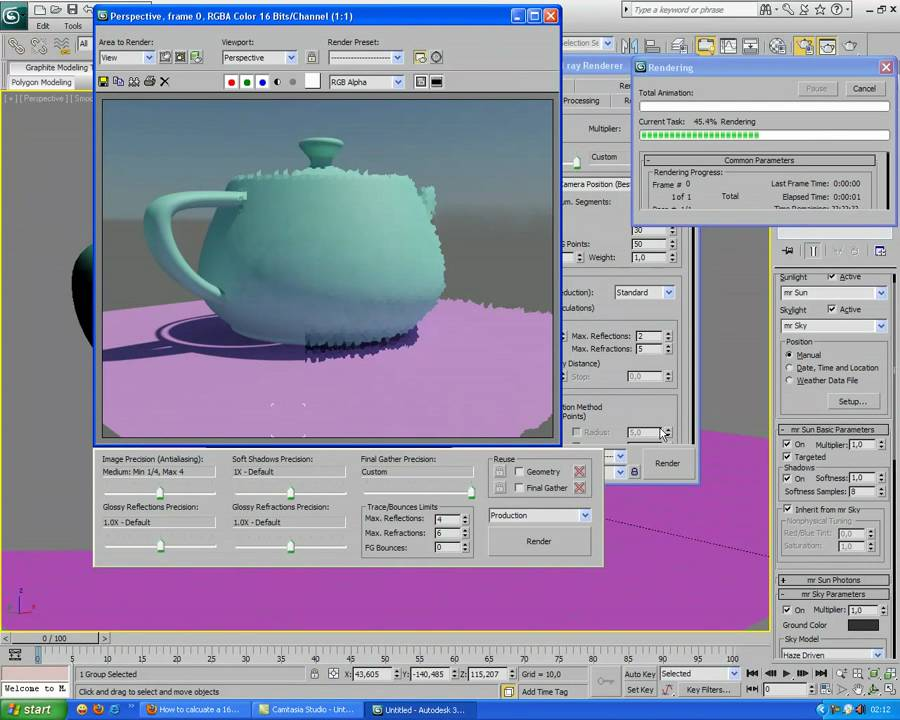 3ds Max 2010 Basic Mental Ray Exterior Light Tutorial Youtube