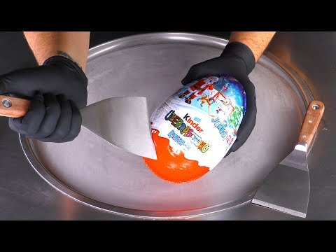 ASMR - GIANT Kinder Surprise Egg Ice Cream Rolls   Toy Opening With Satisfying Tapping & Scratching