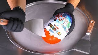 ASMR - GIANT kinder Surprise Egg Ice Cream Rolls | toy opening with satisfying tapping & scratching