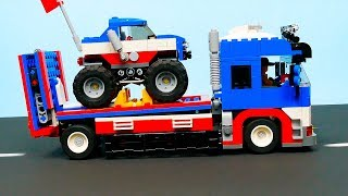 Lego Monster Truck and transporter car . Toy vehicles for Kids .  Funny Brick Building Animation