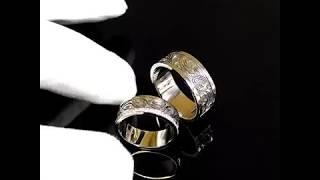 Обручальные кольца из белого золота с чернением и бриллиантами