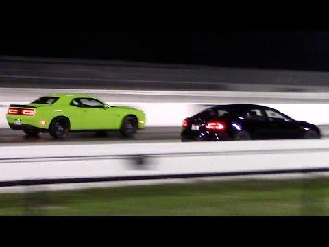 Tesla Model S P85D vs Dodge Challenger Hellcat 1/4 Mile Drag Racing Rematch