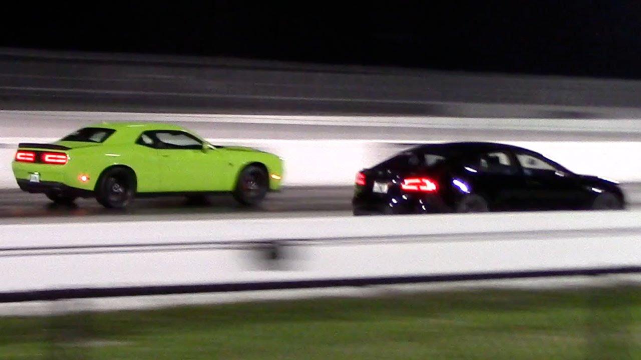 Tesla Model S P85d Vs Dodge Challenger Hellcat 1 4 Mile Drag Racing Rematch You