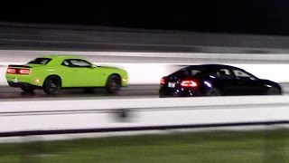 tesla model s p85d vs dodge challenger hellcat 1 4 mile drag racing rematch