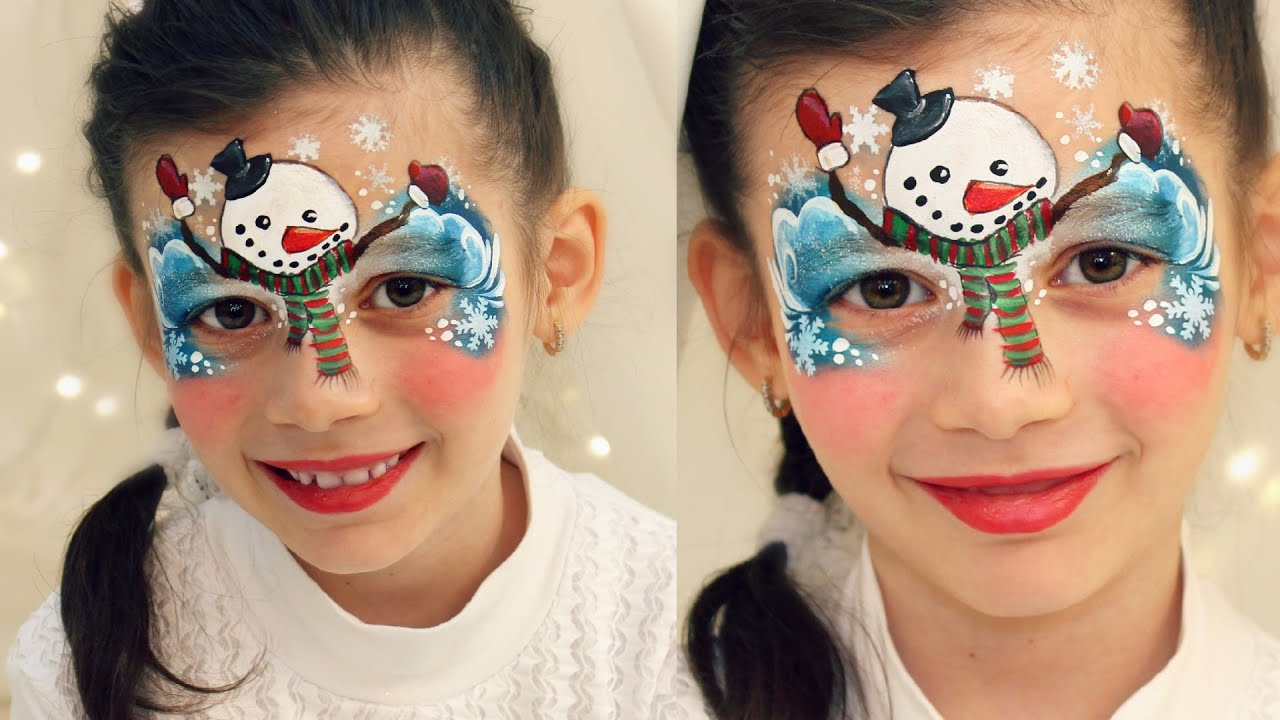 Christmas Face Paint.Cute Snowman Christmas Face Painting Makeup For Kids