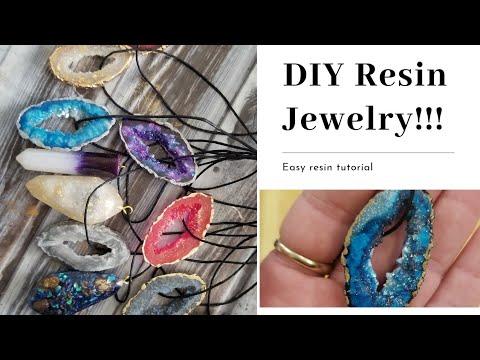 DIY Making Resin Geode Jewelry!!!😍