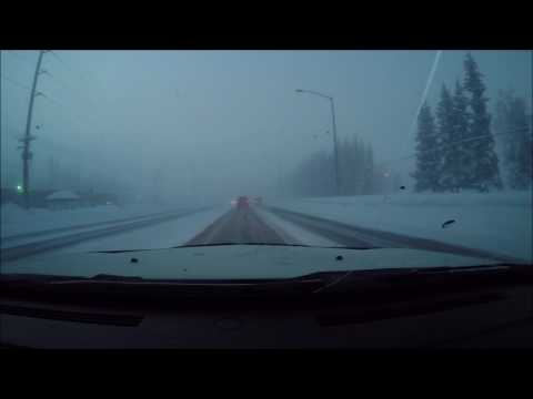 Driving in Fairbanks Alaska in -52F below zero in a dodge charger