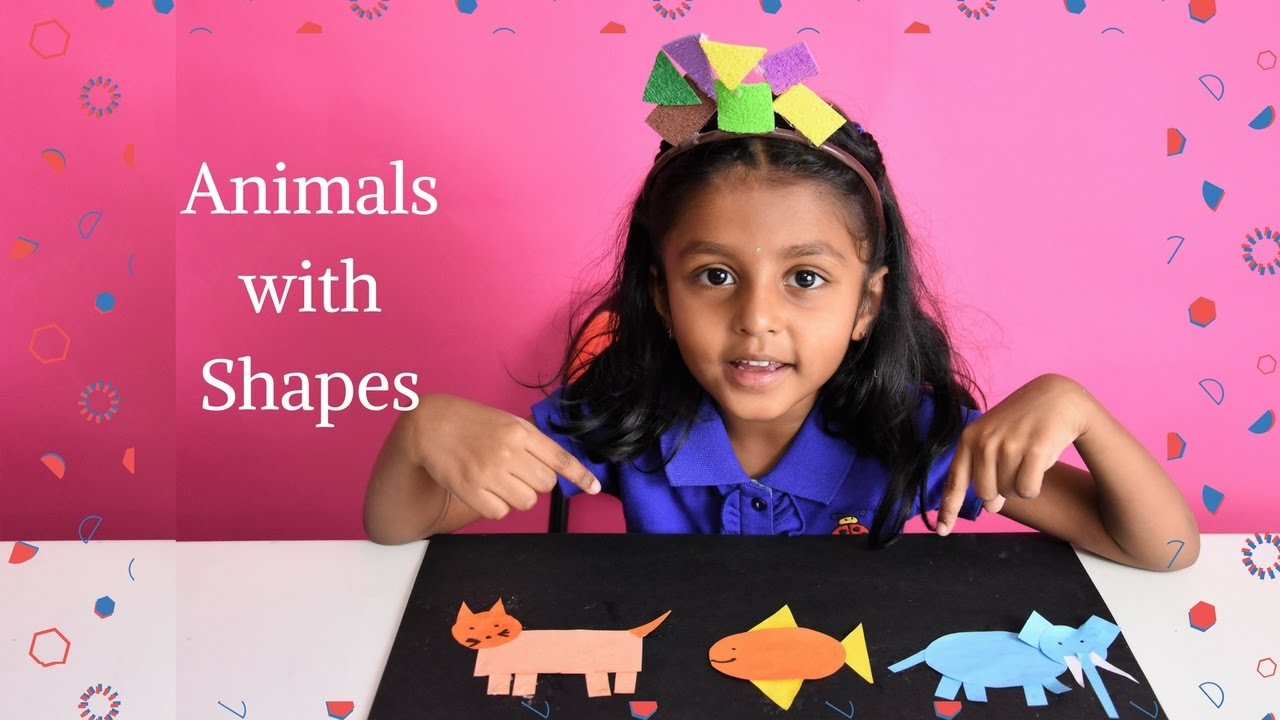 How To Draw Animals With Geometric Shapes Shape Designs Kindergarten Art Nandu Play Time