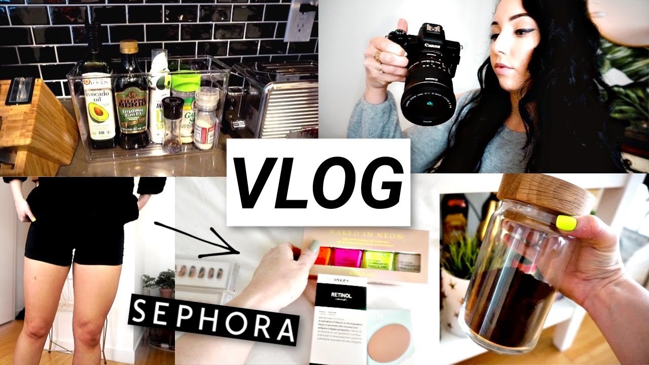 Press on Nails, Curly Hair, Working Out, Sephora Sale Haul, Canon m50...Yikes | VLOG
