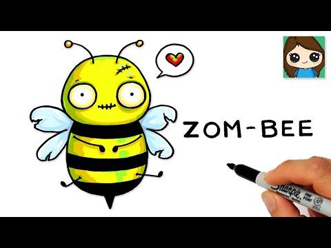 How to Draw a Zom-Bee 🐝Cute Pun Art Halloween Zombie
