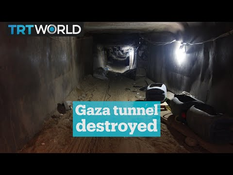 Gaza tunnel destroyed by Isreali attack