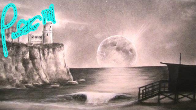 Night Beach Landscape Drawing - Lighthouse