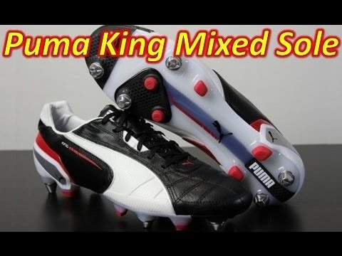 5d7ec25dcfc3 Puma King 2013 SG Mixed Sole Black White Ribbon Red - Unboxing + On Feet -  YouTube