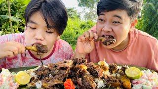 NGANU NGOUBA MUKBANG   Local Duck stir fry with Mayo Vegetable Salad   +recipe   Meitei Mukbang