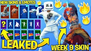 ALL LEAKED FORTNITE SKINS & EMOTES..!!! (Marshmello Skin, Keep it Mello, Snowfall Week 9 Skin...)