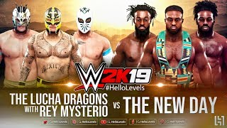 WWE 2K19 Rey Mysterio And The Lucha Dragons vs The New Day  | WWE 2K19 6 MAN TAG TEAM Match Gameplay