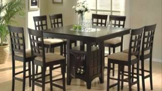 9pc Counter Height Storage Dining Table Wlazy Susan & Chair Set