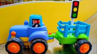 Мультики про машинки Синий трактор помогает потушить пожар Детские мультики Машинки