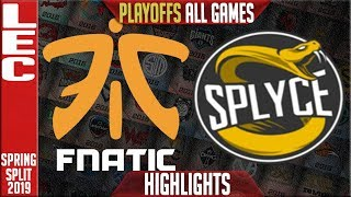 FNC vs SPY ALL GAMES Highlights | LEC Playoffs Spring 2019 Round 2 | Fnatic vs Splyce