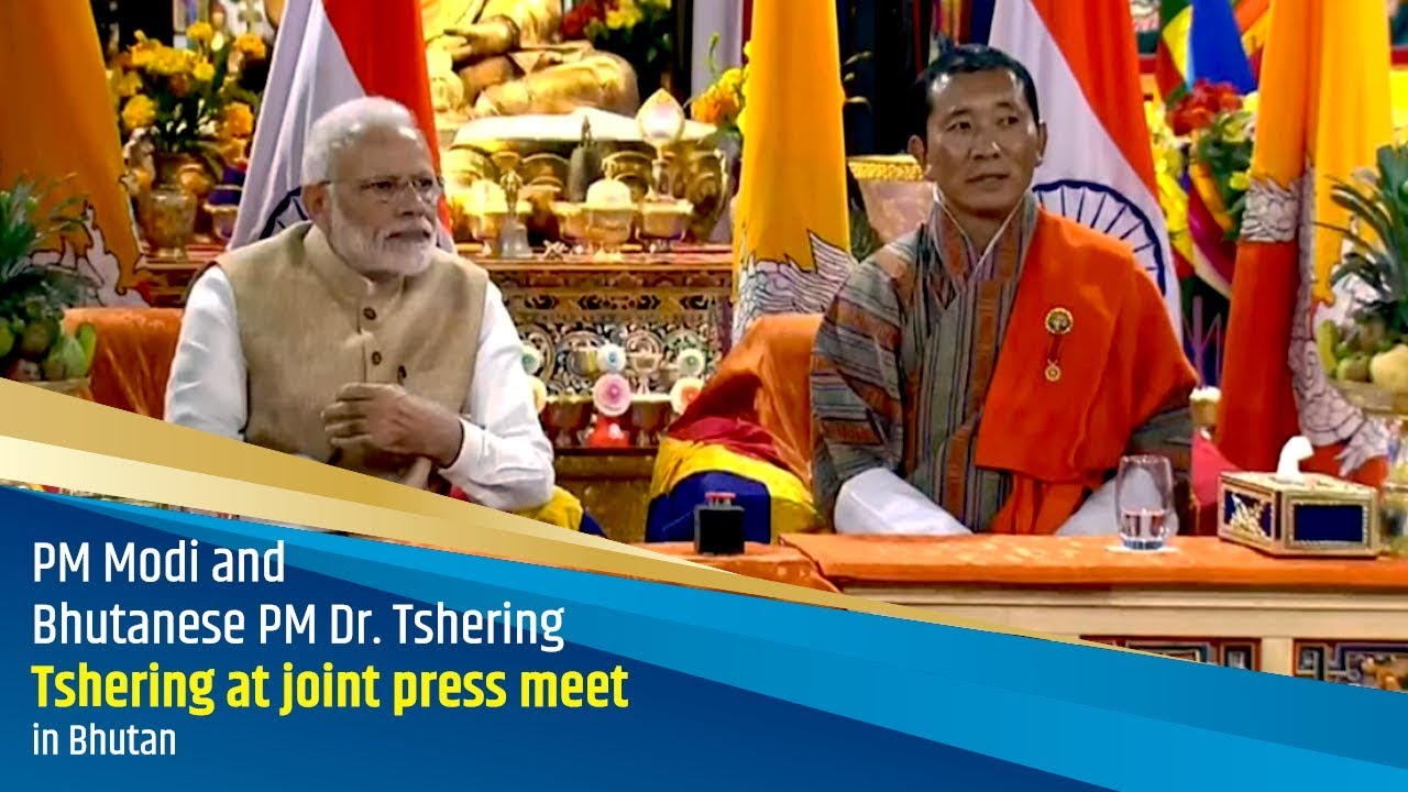 PM Modi and Bhutanese PM Dr  Tshering at joint press meet in Bhutan