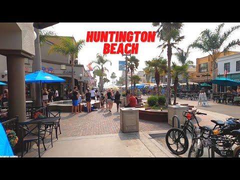 Huntington Beach - Walking Downtown Huntington Beach, Orange County, California, USA, Travel, 4K UHD