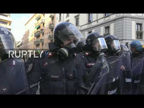 LIVE: Tensions high in Milan during anti-fascist rally