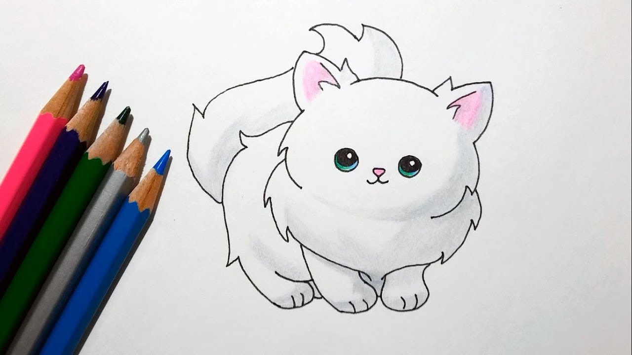 How To Draw A Cute Cartoon Cat Drawing A Fluffy Kitten Youtube