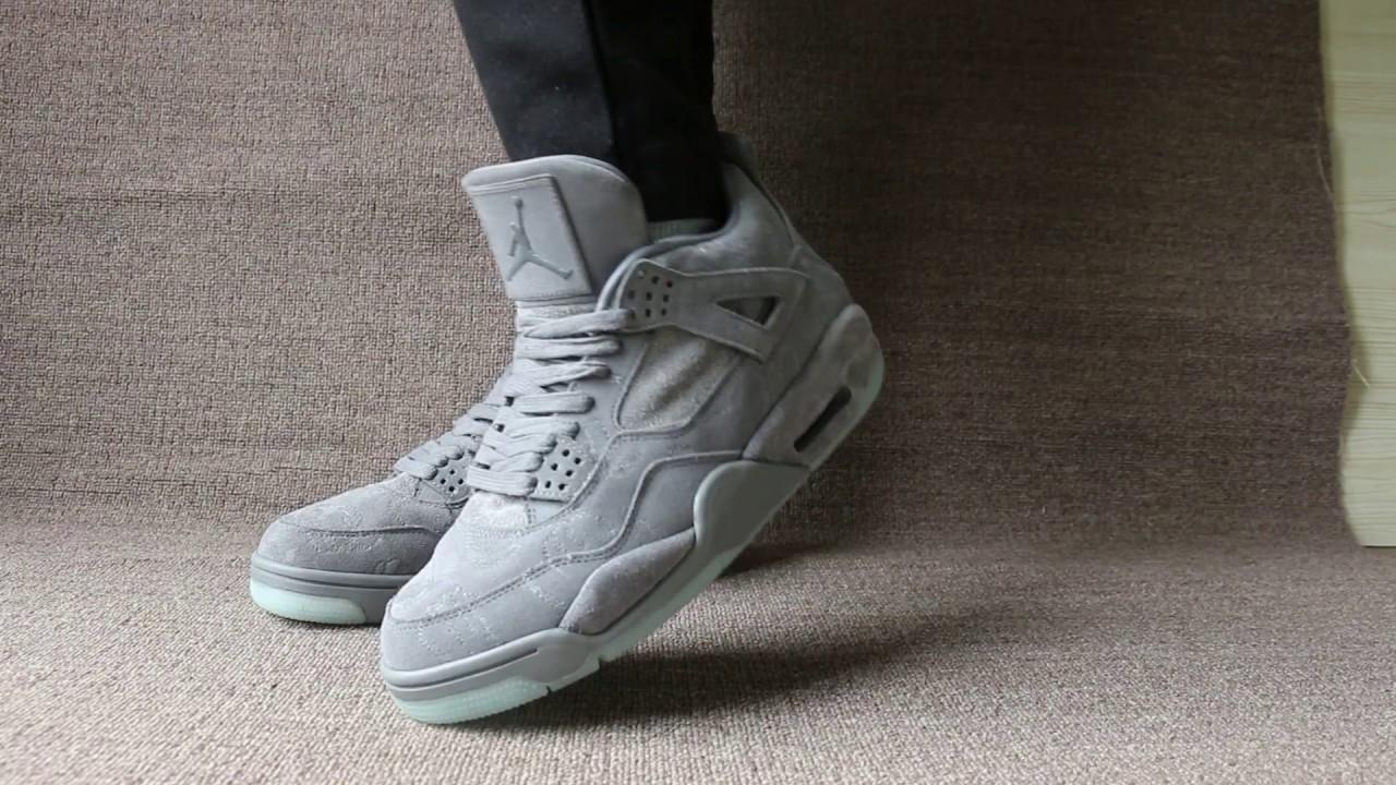"713a4ed86aa5 Kaws x Air Jordan 4 ""Cool Grey"" On Foot - YouTube"