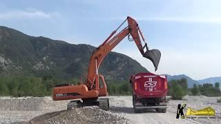 Doosan 255 Excavator Digging and Loading Gravel on Iveco & Mercedes Trucks
