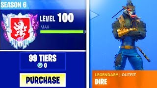 "How to FULLY UPGRADE ""DIRE SKIN"" MAX STAGE SEASON 6 FAST in Fortnite Battle Royale! - MAX TIER 100"