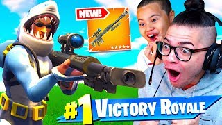 OMG *NEW* HEAVY SNIPER IS OVERPOWERED! DUOS WITH LITTLE BROTHER! FORTNITE BATTLE ROYALE 242 M SNIPE!