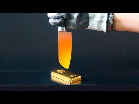 EXPERIMENT 1000 Degree Glowing Knife vs 1Kg GOLD