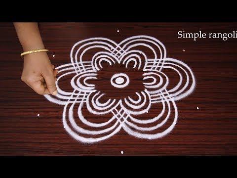 Simpel Padi Kolam design with dots   Padi Kolam designs   Make Rangoli design How