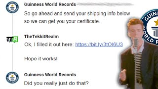 """Rick Rolling Guinness After Giving me a """"Most Rick Rolls"""" World Record"""
