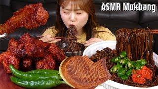 ASMR Mukbang|맘스터치 알룰로스 치킨과 수란을 곁들인 쟁반짜장! 디저트는 붕어빵~