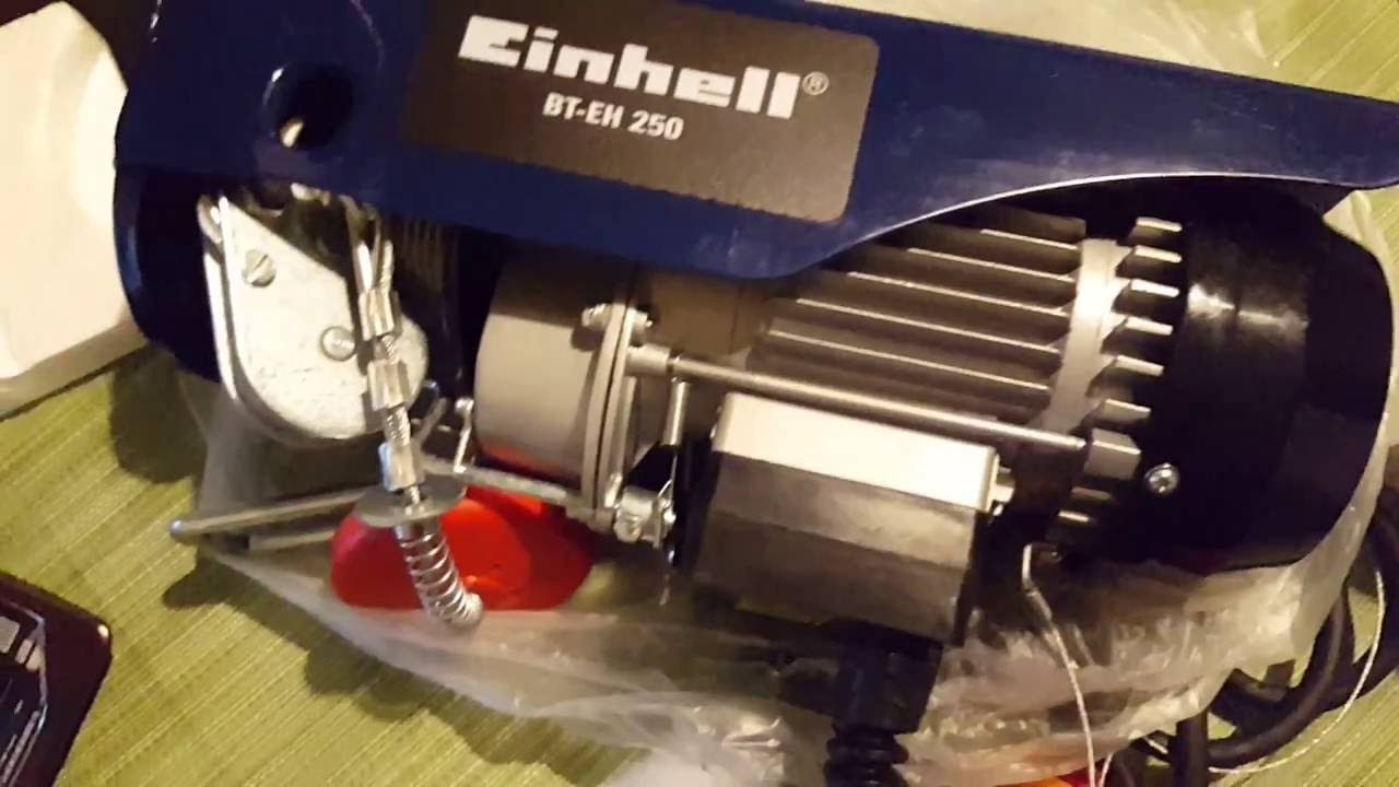 Einhell bt eh 250 paranco elettrico carrucola 11mt youtube for Montacarichi per legna