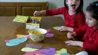 Skylar and Madison making Valentines for their play date today
