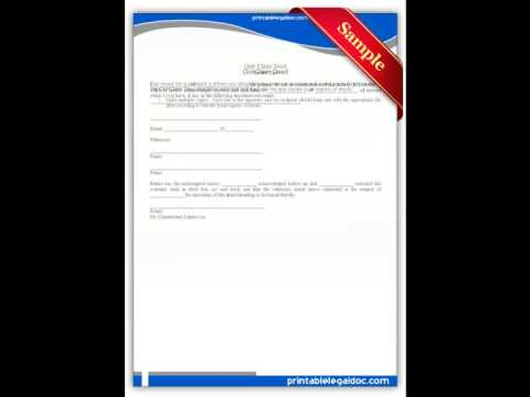 Free Printable Quit Claim Deed Forms  Youtube