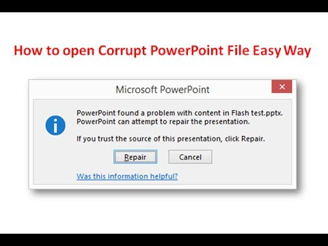 How To Repair Corrupt Powerpoint Presentation Youtube
