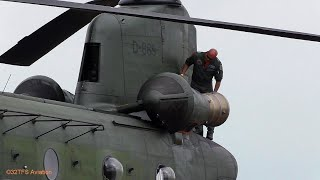 Netherlands AF CH 47D Chinook Helicopter engine startup and takeoff