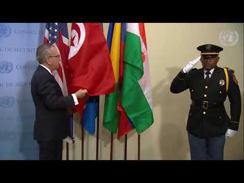 مراسم وضع العلم التونسي أمام مجلس الأمن  2 يناير 2020