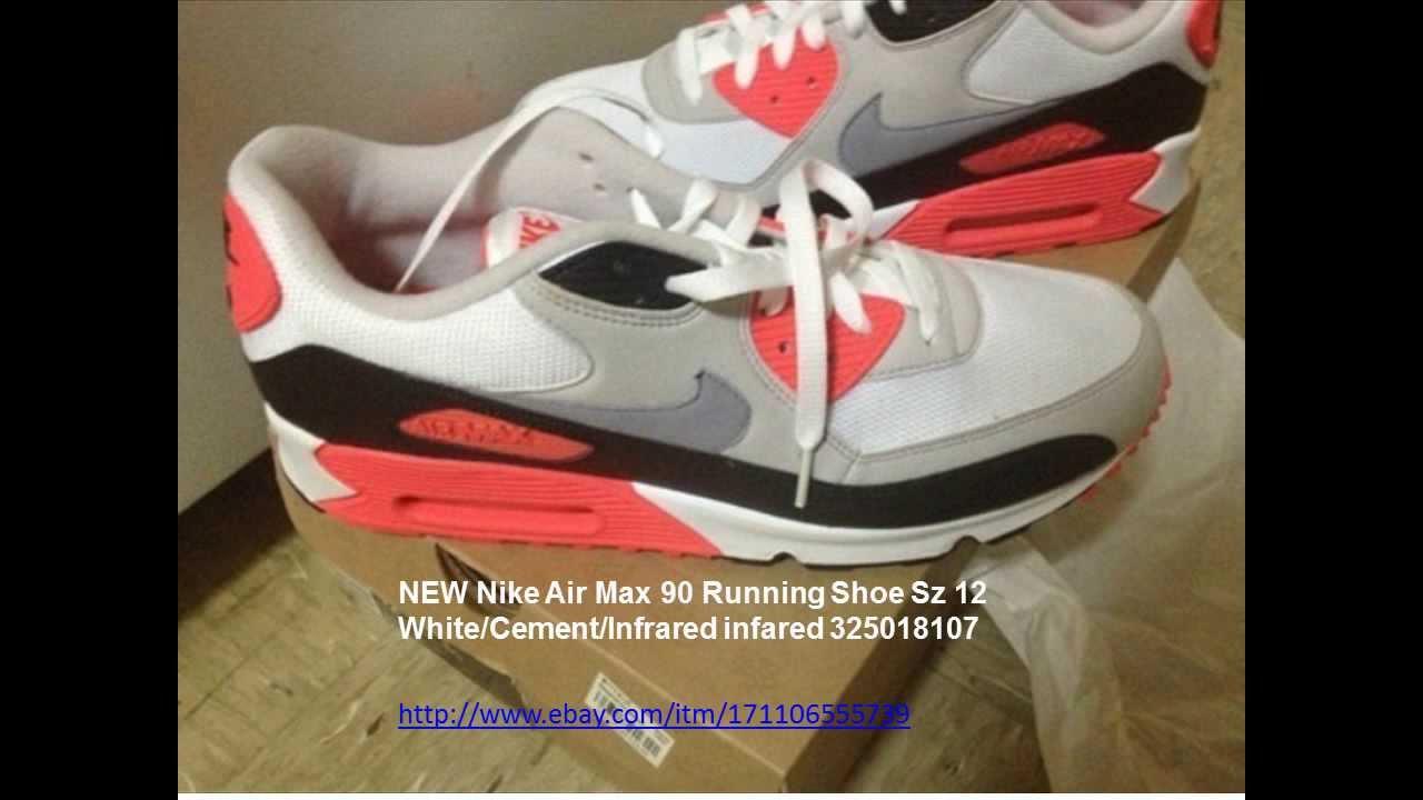 nike air max 90 scarpa da corsa, sz 12 bianco / cemento / infrarossi 325018107