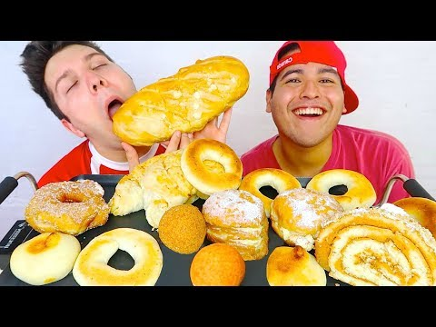 Giant Donut & Cheese Ball Feast With My Boyfriend • MUKBANG
